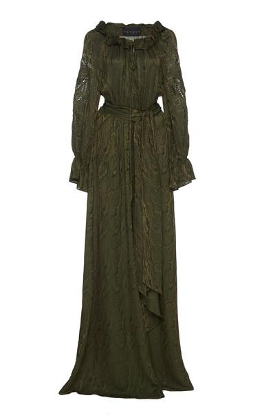 Dundas Belted Satin-Jacquard Maxi Dress Size: 42 in green