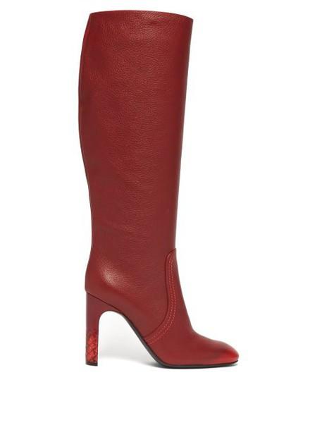 Bottega Veneta - Intrecciato Heel Knee High Leather Boots - Womens - Red
