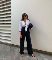 top,white top,crop tops,wide-leg pants,slide shoes,black bag
