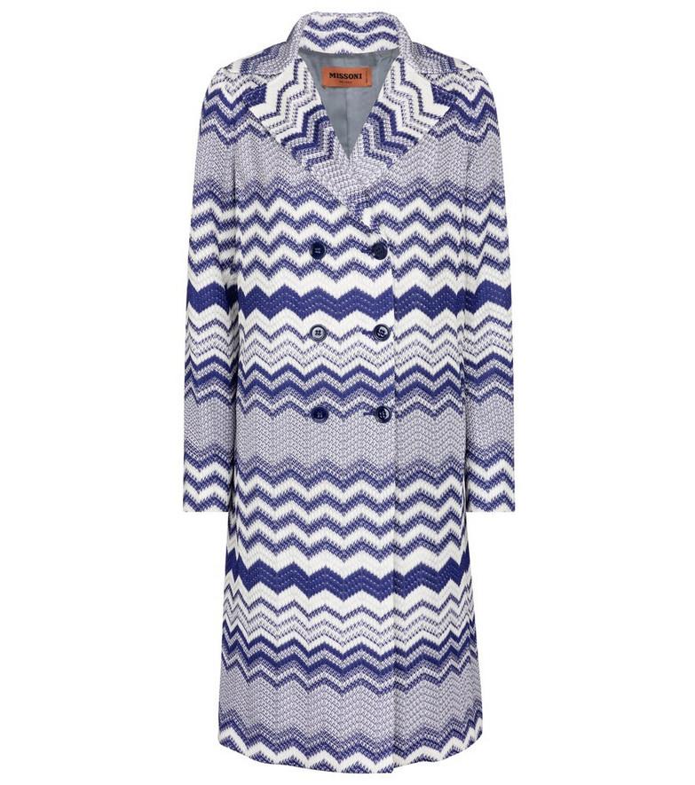 Missoni Zig-zag knit coat in blue