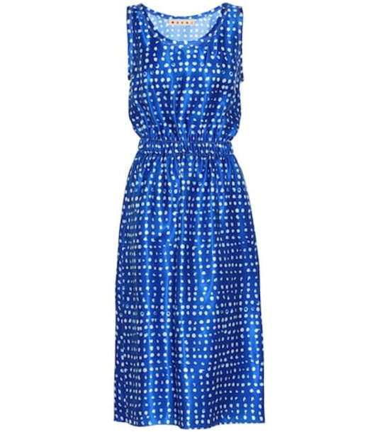 Marni Polka-dot satin dress in blue