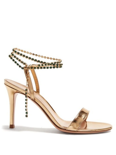 Gianvito Rossi - Gems 85 Crystal Embellished Leather Sandals - Womens - Gold