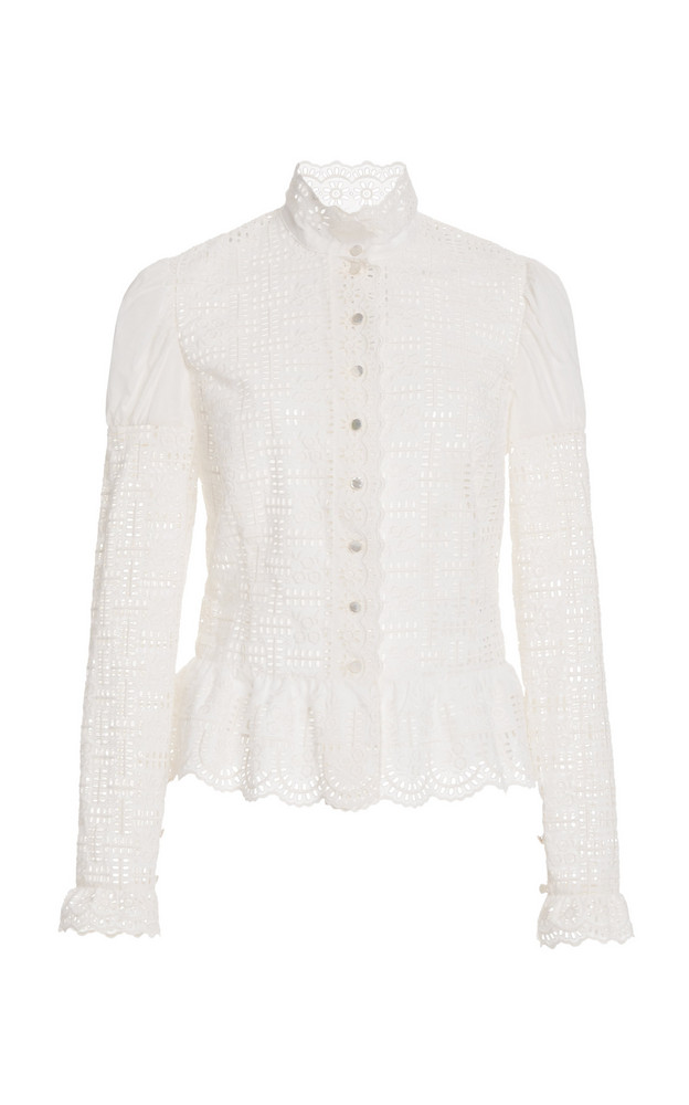 Ralph Lauren Bernice Ruffled Broderie Anglaise Cotton Blouse in white