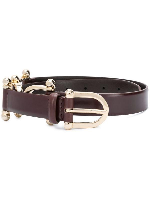 Sandro Paris horsebit buckle leather belt in brown