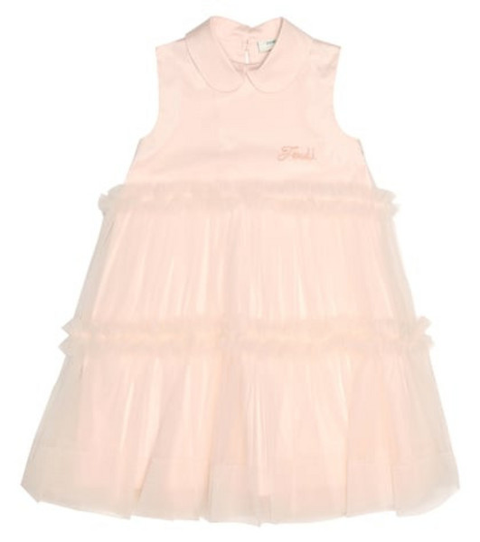 Fendi Kids Cotton tulle dress in pink