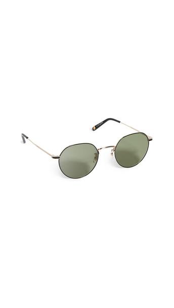 GARRETT LEIGHT Robson 48mm Sunglasses in black / gold / green