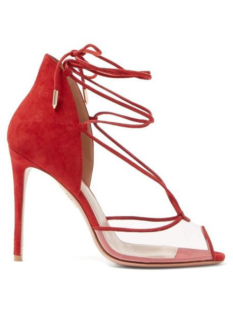 Aquazzura - Magic Peep Toe 105 Suede Sandals - Womens - Red