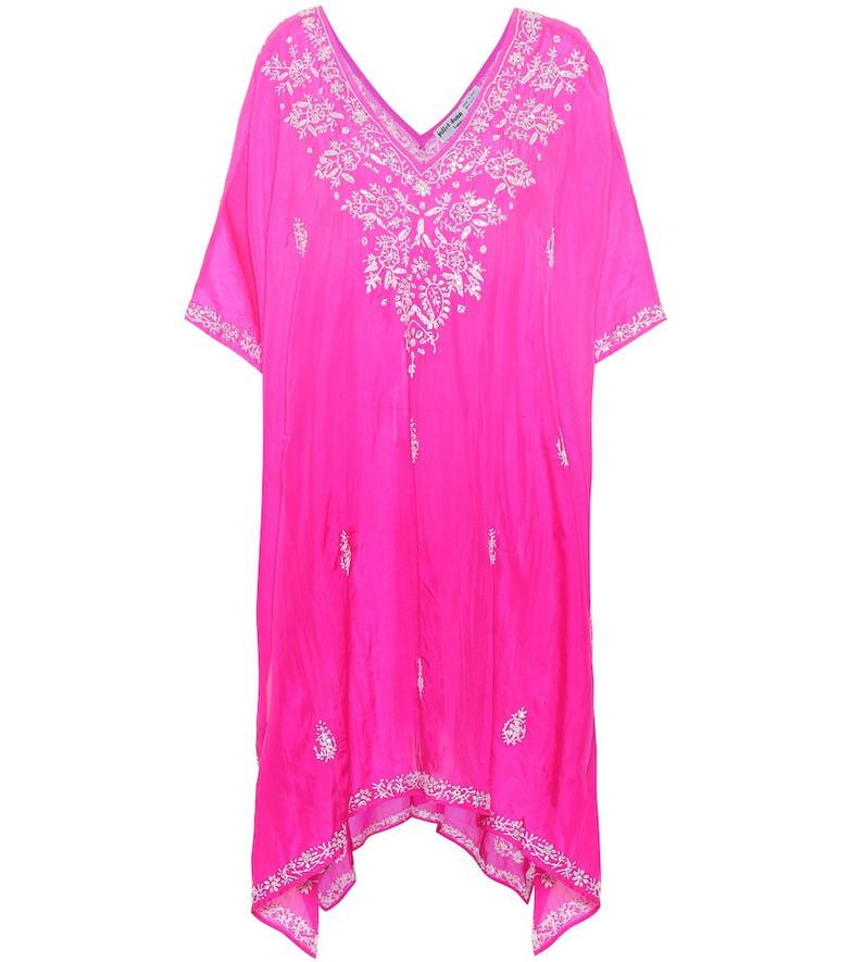 Juliet Dunn Embellished silk kaftan in pink