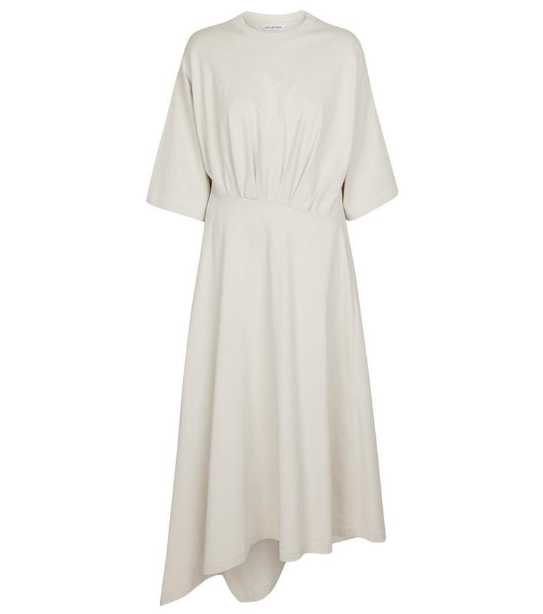 Balenciaga Asymmetric cotton midi dress in grey