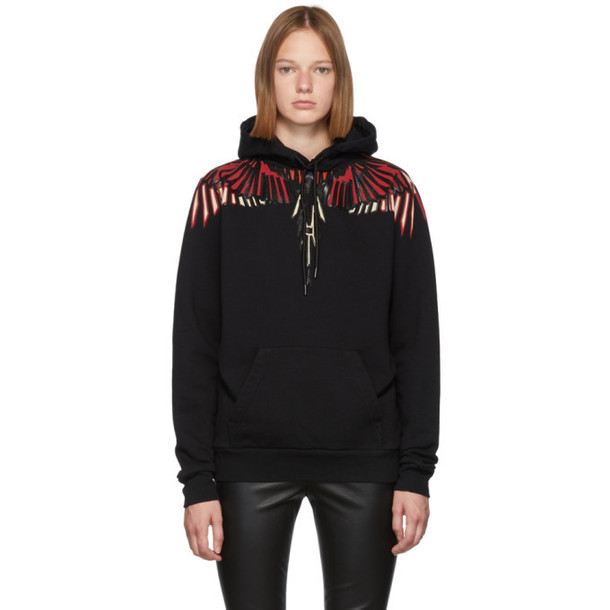 Marcelo Burlon County of Milan Black Geometric Wings Hoodie