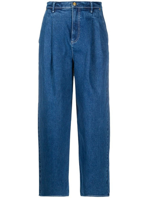 Tory Burch pleated waist jeans in blue