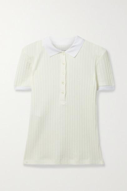 Maison Margiela - Ribbed Pointelle-knit Cotton Polo Shirt - White