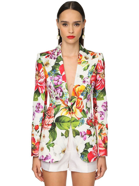 DOLCE & GABBANA Flower Printed Cotton Drill Jacket in white / multi