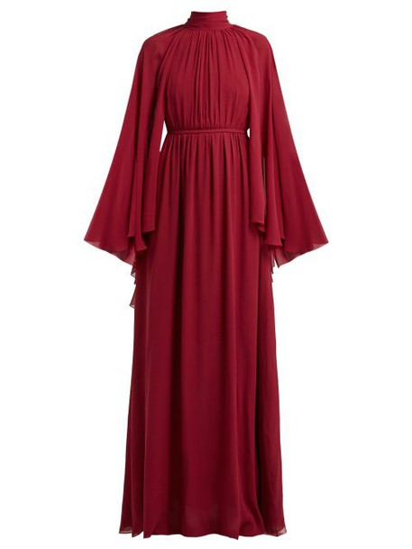 Giambattista Valli - Gathered Cape Silk Georgette Gown - Womens - Burgundy