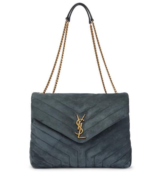 Saint Laurent Loulou Medium suede shoulder bag in blue