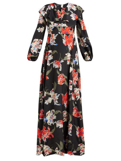 Rochas - Tulip Print Silk Gown - Womens - Black
