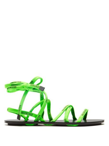 Balenciaga - Logo Laced Wrap Around Flat Sandals - Womens - Green