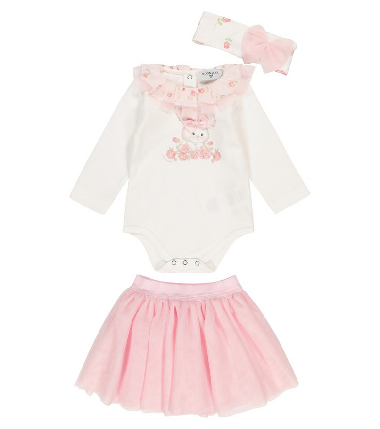 Monnalisa Baby cotton outfit and tulle skirt in white