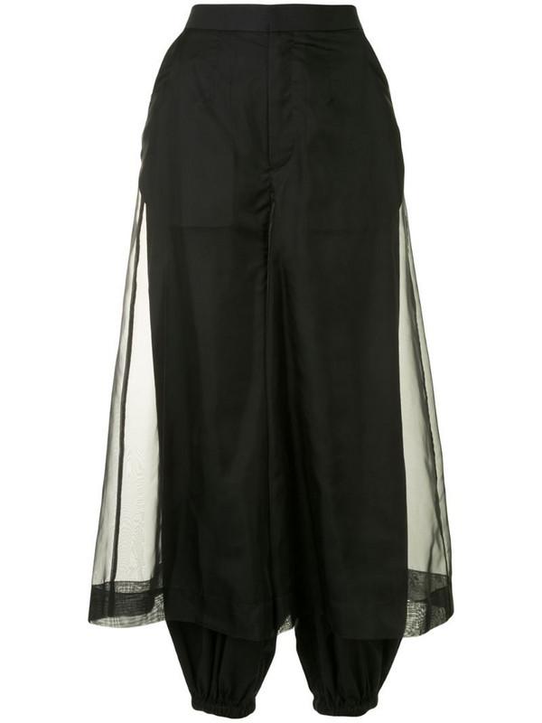 Enföld sheer-panel tapered trousers in black