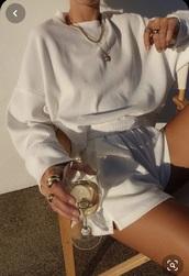 pajamas,lounge wear,cream,white,sweater,shorts,comfy,soft