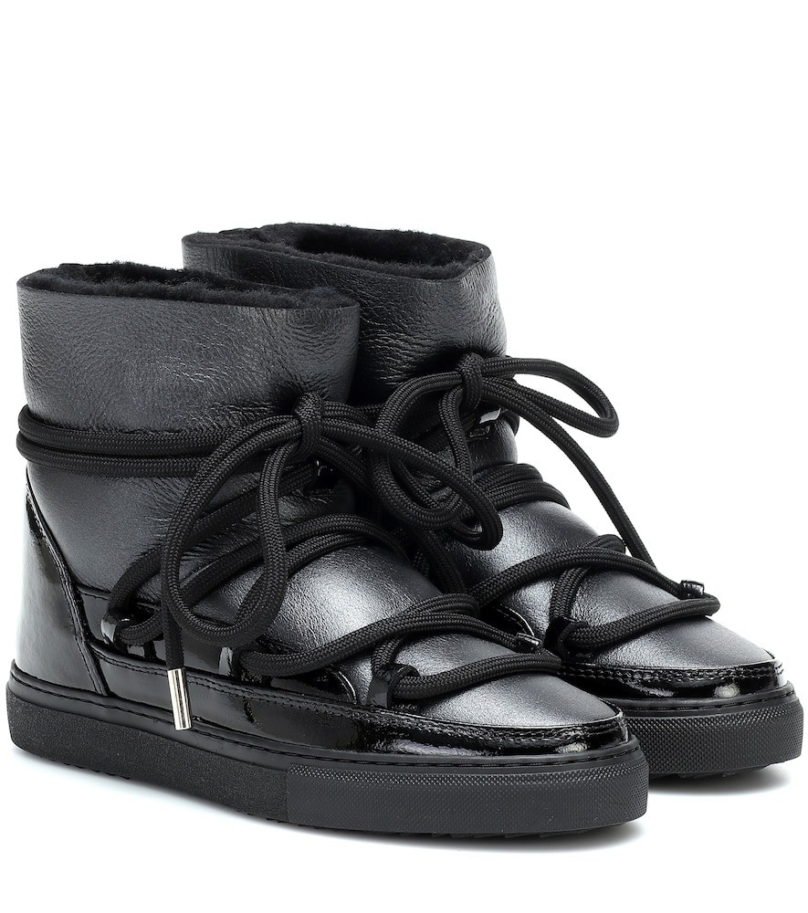 Inuikii Sneaker gloss-leather boots in black