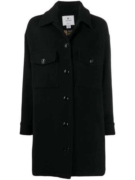 Woolrich oversize fringe detail coat in black