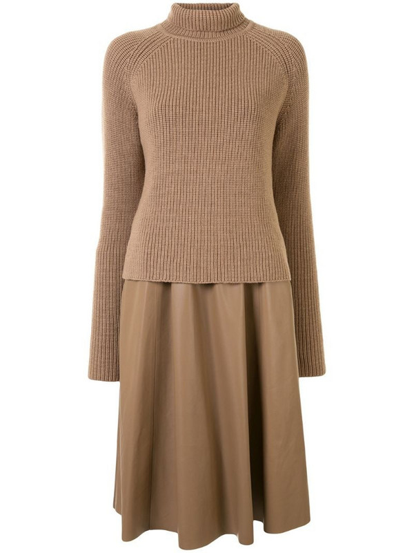 Drome roll neck chunky knit jumper in brown