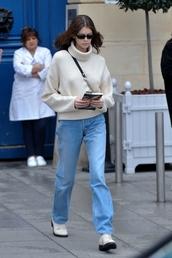 sweater,turtleneck,turtleneck sweater,jeans,denim,fashion week,streetstyle,kaia gerber,model off-duty