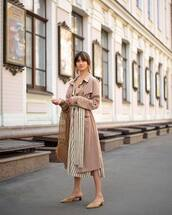 coat,dusty pink,trench coat,dress,striped dress,shoes,mules,bag