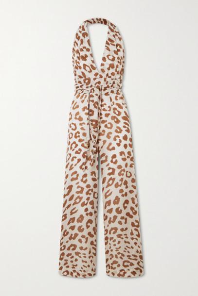Nanushka - Alayna Belted Leopard-print Organic Cotton-voile Jumpsuit - Leopard print