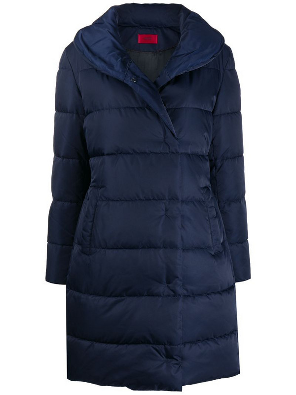 BOSS quilted puffer coat in blue