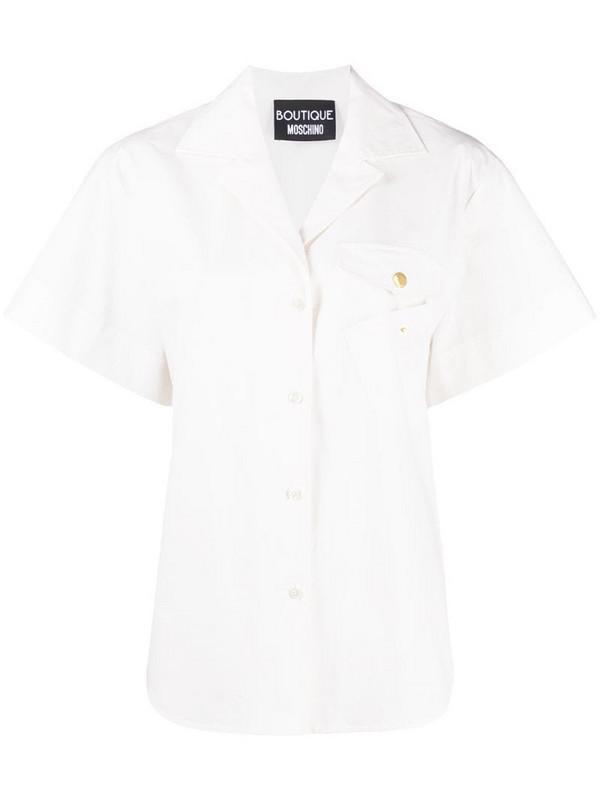 Boutique Moschino flap pocket poplin shirt in white