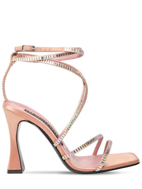 LES PETITS JOUEURS 100mm Camelia Satin & Crystals Sandals in blush