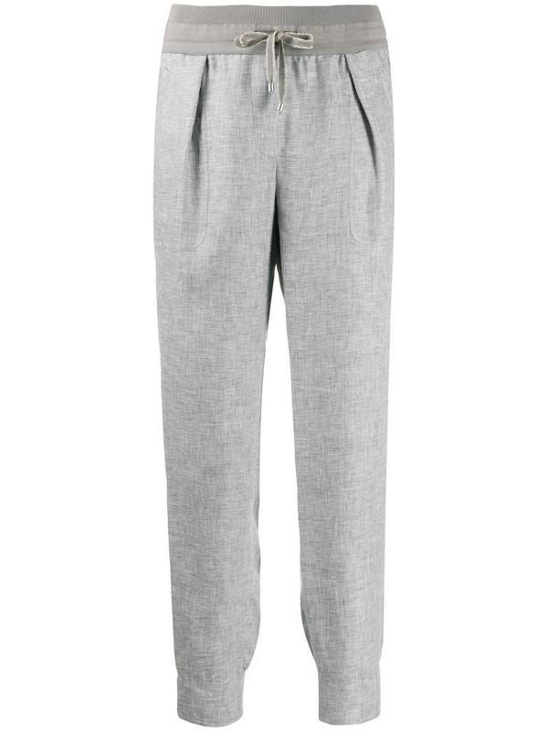 Lorena Antoniazzi drawstring linen trousers in grey