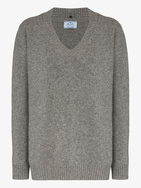 Prada cutout collar detail cashmere knit sweater in grey