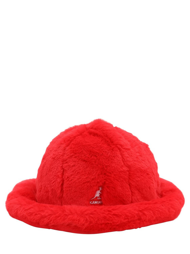 KANGOL Leopard Print Faux Fur Hat in red
