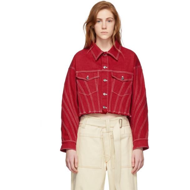 Mugler Red Raw Denim Cropped Jacket
