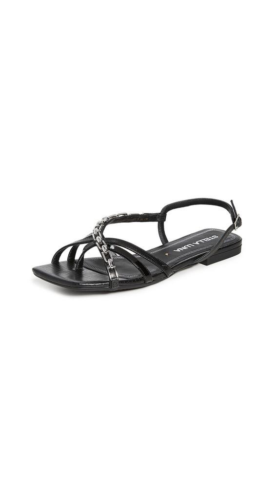 Stella Luna Strappy Chain Sandals in black