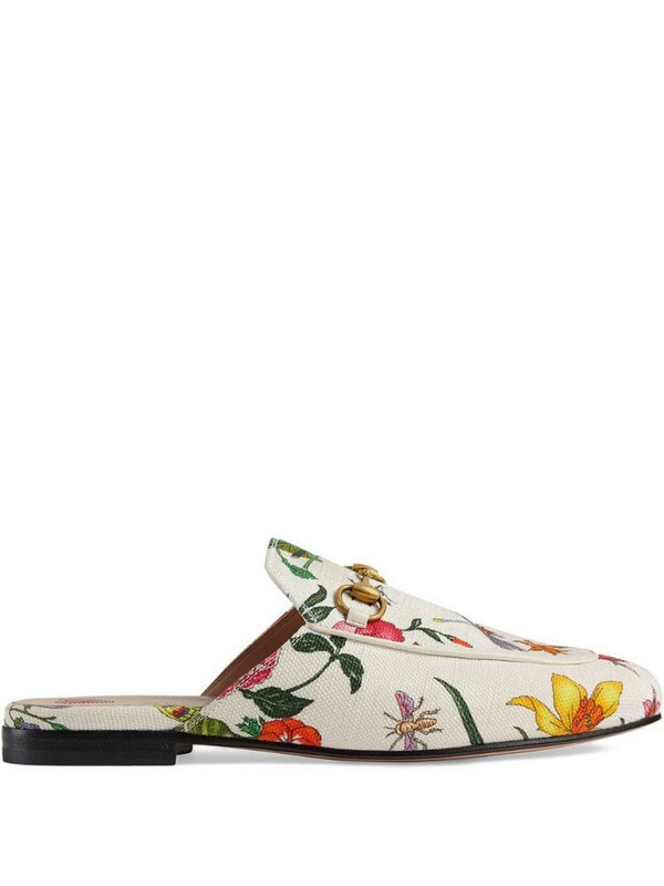 Gucci Princetown Flora print canvas slipper in white