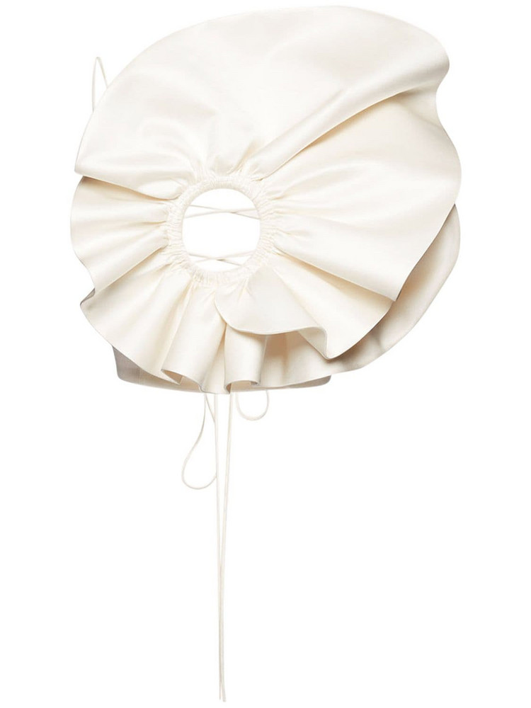 MAGDA BUTRYM Flower Wool & Silk Cady Layered Top in ivory
