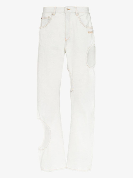 Off-White Hole detail straight leg jeans