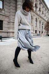 viennawedekind,blogger,sweater,skirt,jewels,bag,turtleneck sweater,winter outfits,high heels boots