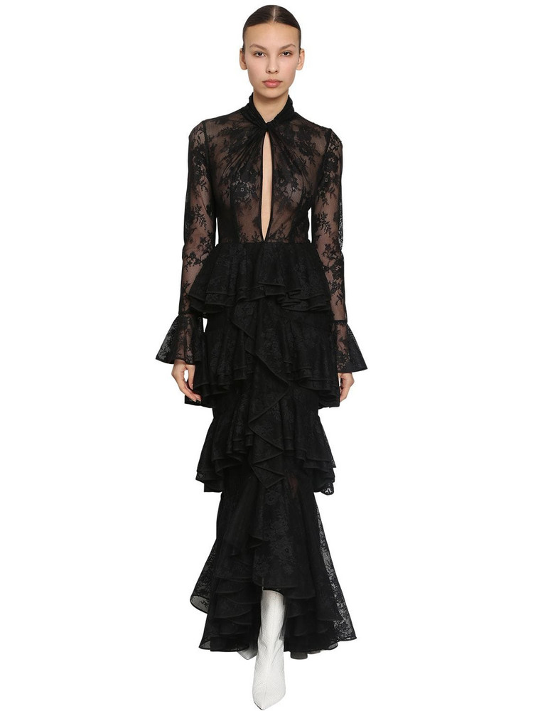 INGIE PARIS Long Ruffled Lace Dress in black