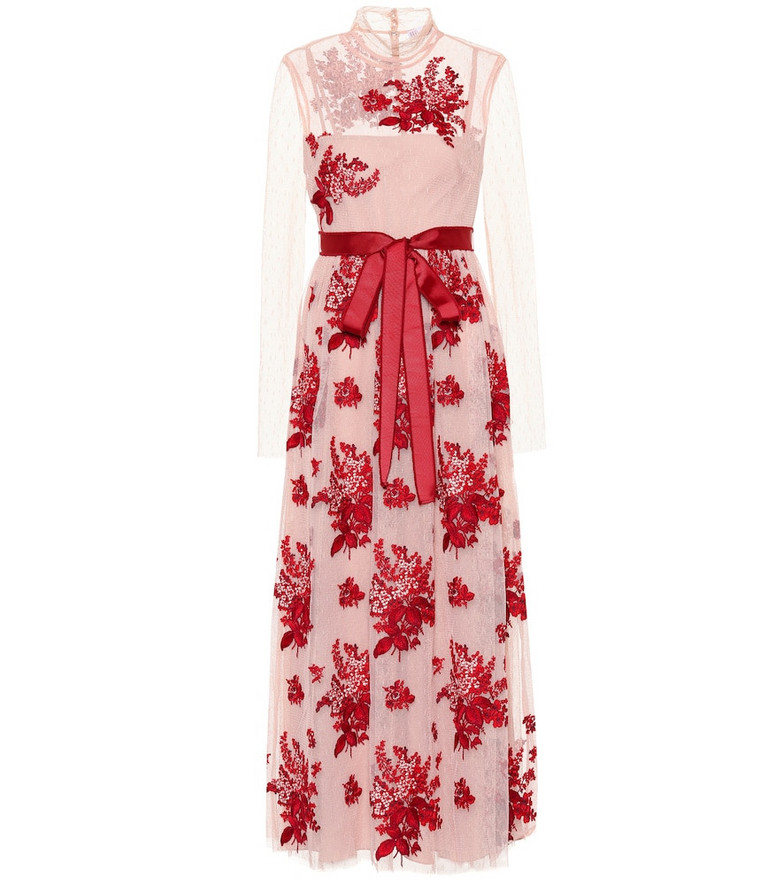 REDValentino Embroidered tulle gown in pink