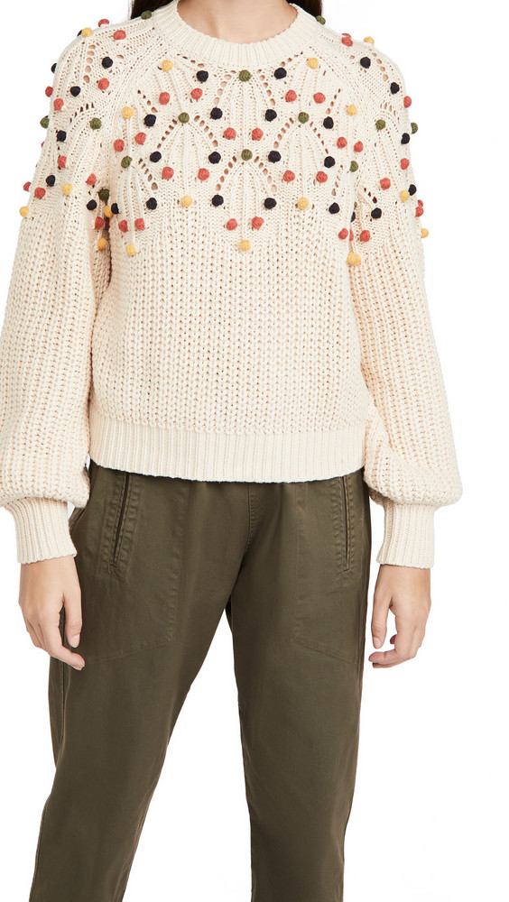 THE GREAT. THE GREAT. The Frond Pullover in cream / multi