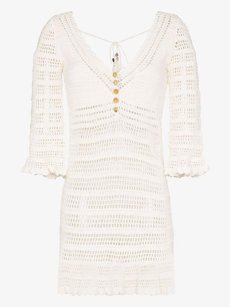 She Made Me Neha crochet ruffled dress in neutrals
