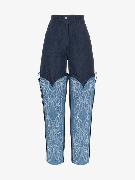 Asai Cowboy embroidered jeans in blue