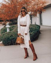 dress,turtleneck dress,white sweater,cable knit,knee high boots,bag