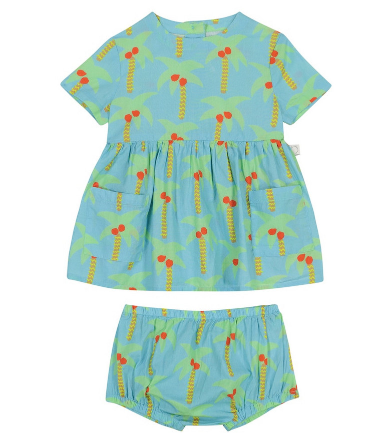 Stella McCartney Kids Baby printed dress and bloomers set in blue