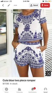 romper,blue and white,2 piece set women
